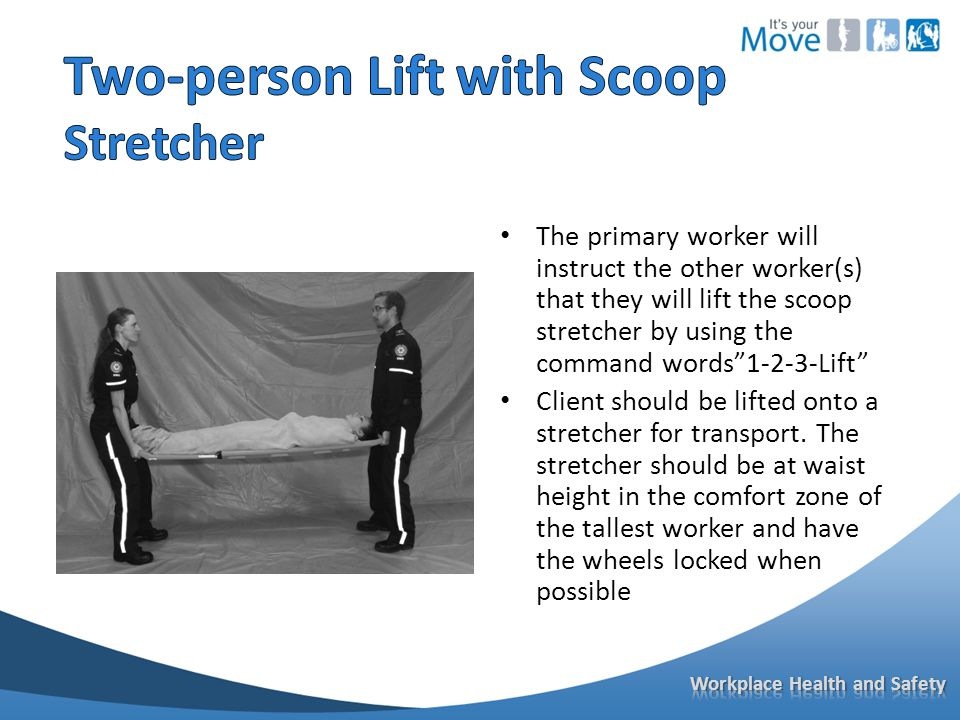 The primary worker will instruct the other worker(s) that they will lift the scoop stretcher by using the command words 1-2-3-Lift Client should be lifted onto a stretcher for transport.