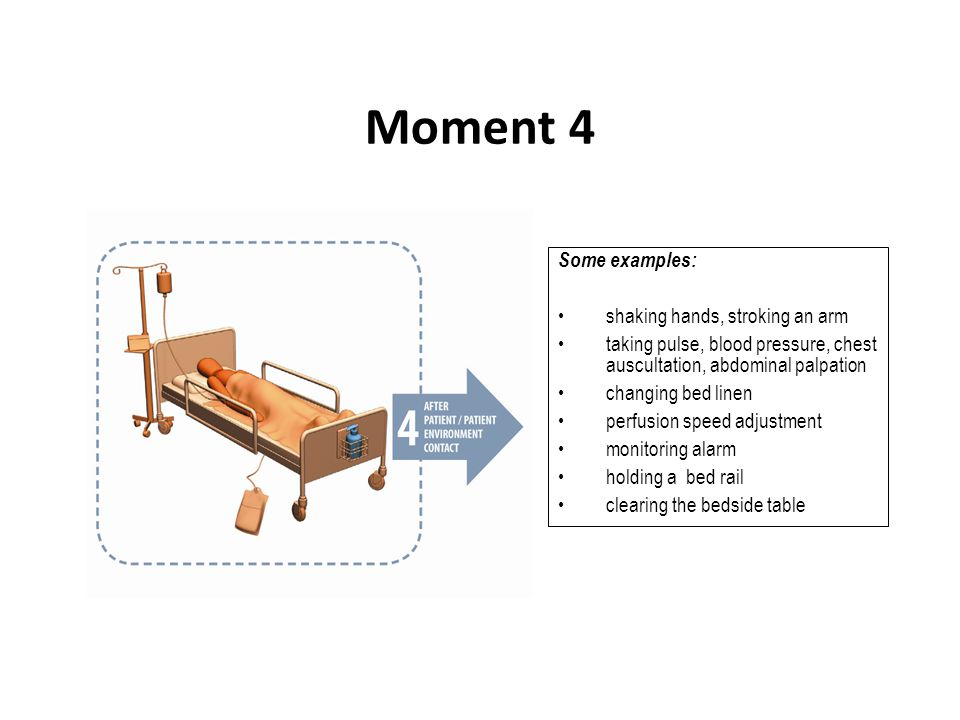 Moment 4 Some examples: shaking hands, stroking an arm taking pulse, blood pressure, chest auscultation, abdominal palpation changing bed linen perfus