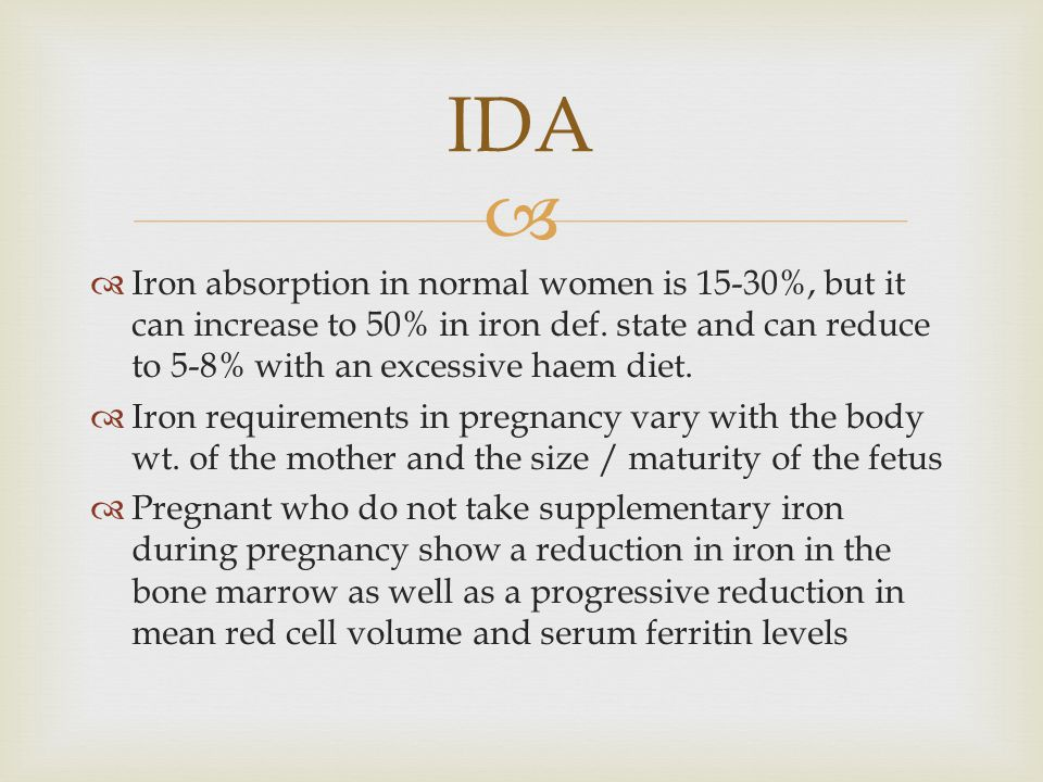   Iron absorption in normal women is 15-30%, but it can increase to 50% in iron def.