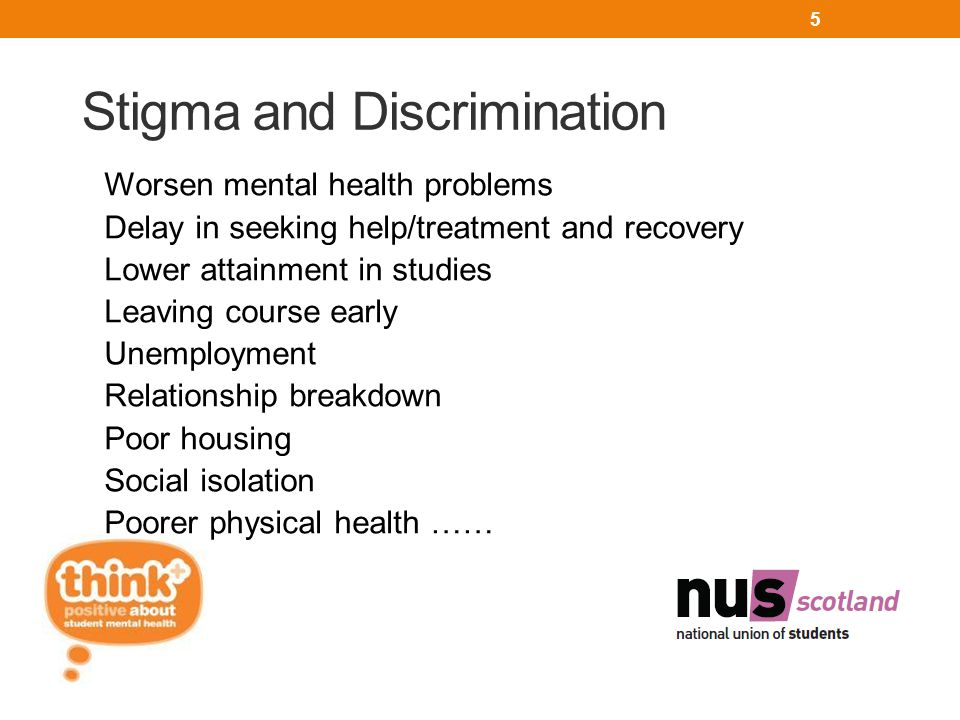 Stigma and Discrimination Worsen mental health problems Delay in seeking help/treatment and recovery Lower attainment in studies Leaving course early Unemployment Relationship breakdown Poor housing Social isolation Poorer physical health …… 5