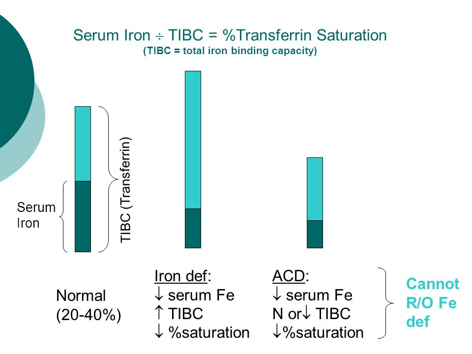 Serum Iron  TIBC = %Transferrin Saturation (TIBC = total iron binding capacity) Normal (20-40%) Iron def:  serum Fe  TIBC  %saturation ACD:  serum Fe N or  TIBC  %saturation Serum Iron Cannot R/O Fe def TIBC (Transferrin)