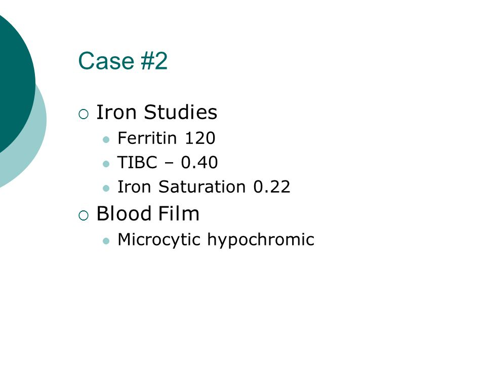 Case #2  Iron Studies Ferritin 120 TIBC – 0.40 Iron Saturation 0.22  Blood Film Microcytic hypochromic