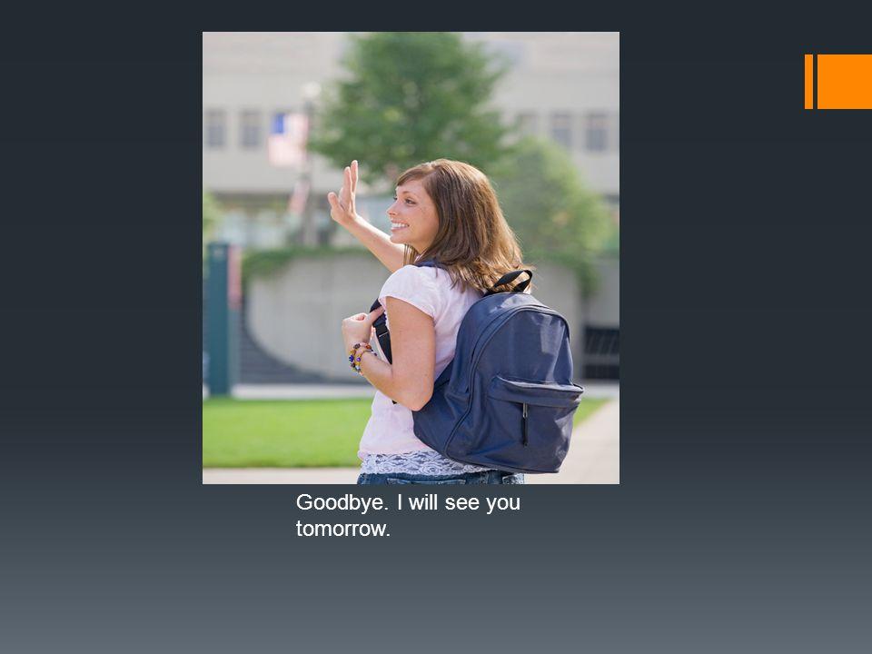 Goodbye. I will see you tomorrow.