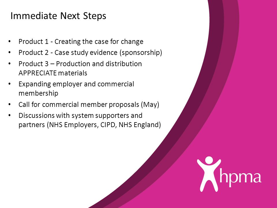 Immediate Next Steps Product 1 - Creating the case for change Product 2 - Case study evidence (sponsorship) Product 3 – Production and distribution APPRECIATE materials Expanding employer and commercial membership Call for commercial member proposals (May) Discussions with system supporters and partners (NHS Employers, CIPD, NHS England)