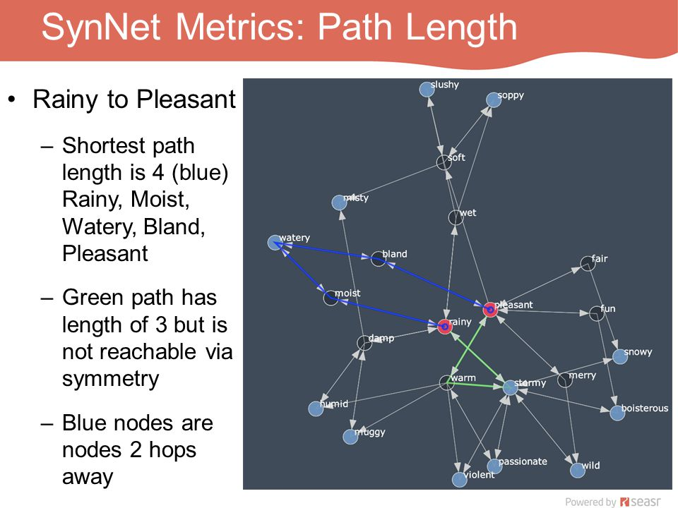 SynNet Metrics: Path Length Rainy to Pleasant –Shortest path length is 4 (blue) Rainy, Moist, Watery, Bland, Pleasant –Green path has length of 3 but is not reachable via symmetry –Blue nodes are nodes 2 hops away