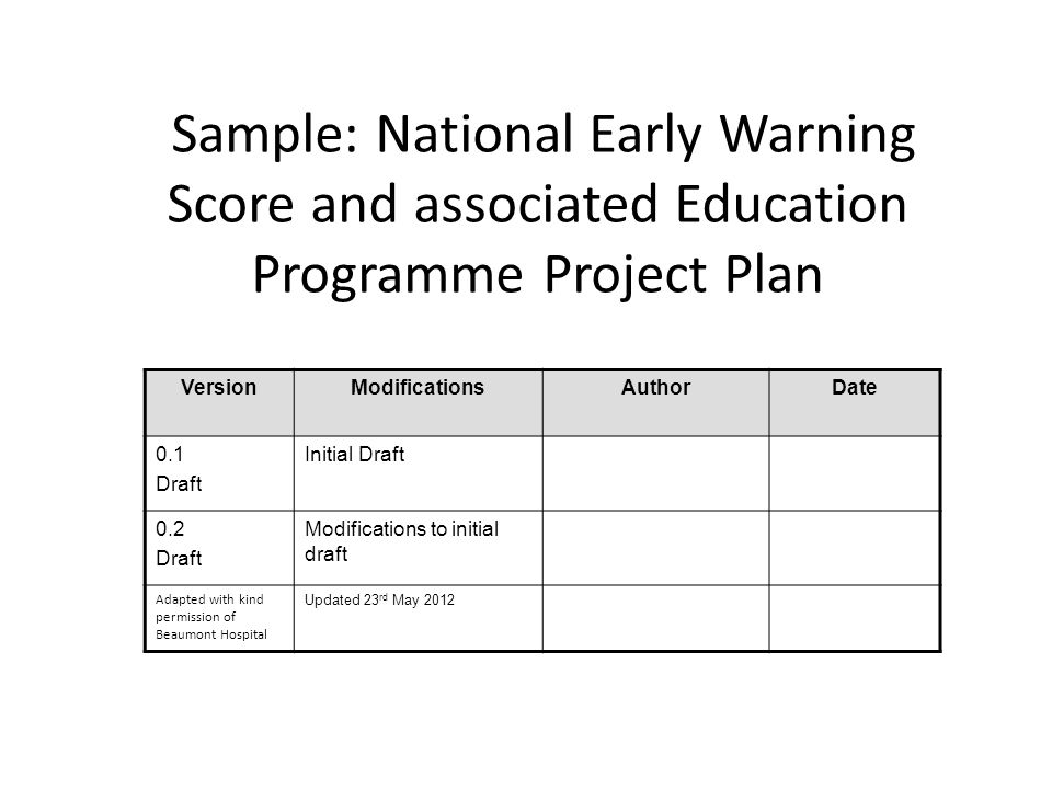 Sample: National Early Warning Score and associated Education Programme Project Plan VersionModificationsAuthorDate 0.1 Draft Initial Draft 0.2 Draft