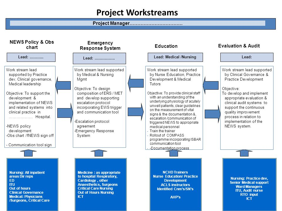 Project Workstreams Project Manager……………………………. Nursing: Practice dev, Senior Medical support Ward Managers ITU, Audit nurse RTO input ICT Work stream