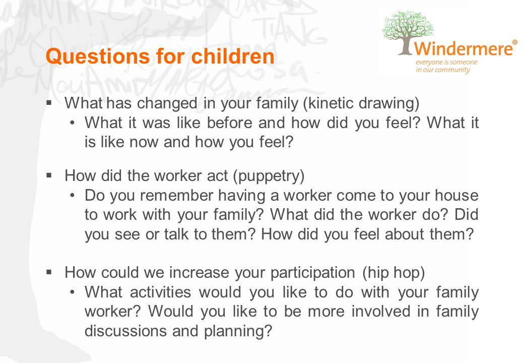 Questions for children  What has changed in your family (kinetic drawing) What it was like before and how did you feel? What it is like now and how y
