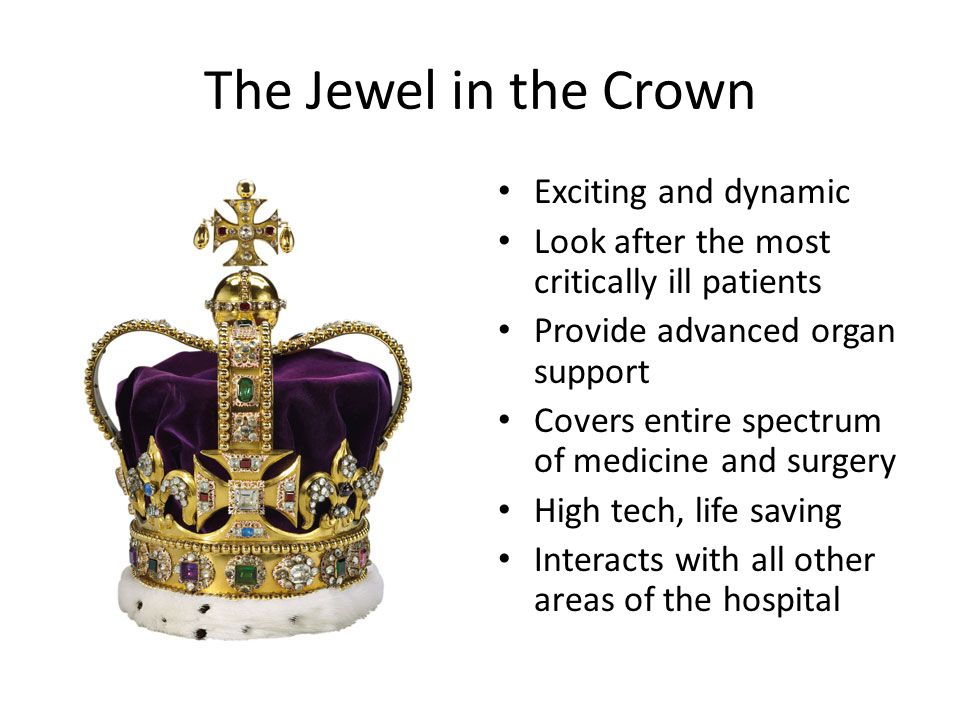 The Jewel in the Crown Exciting and dynamic Look after the most critically ill patients Provide advanced organ support Covers entire spectrum of medicine and surgery High tech, life saving Interacts with all other areas of the hospital