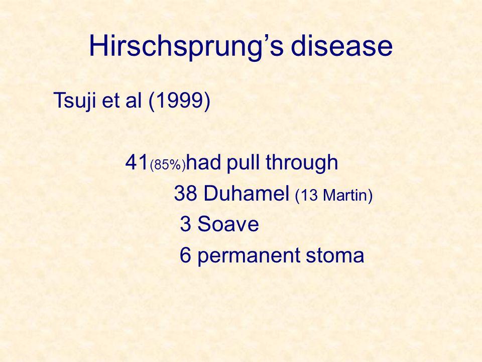 Hirschsprung's disease Tsuji et al (1999) 41 (85%) had pull through 38 Duhamel (13 Martin) 3 Soave 6 permanent stoma
