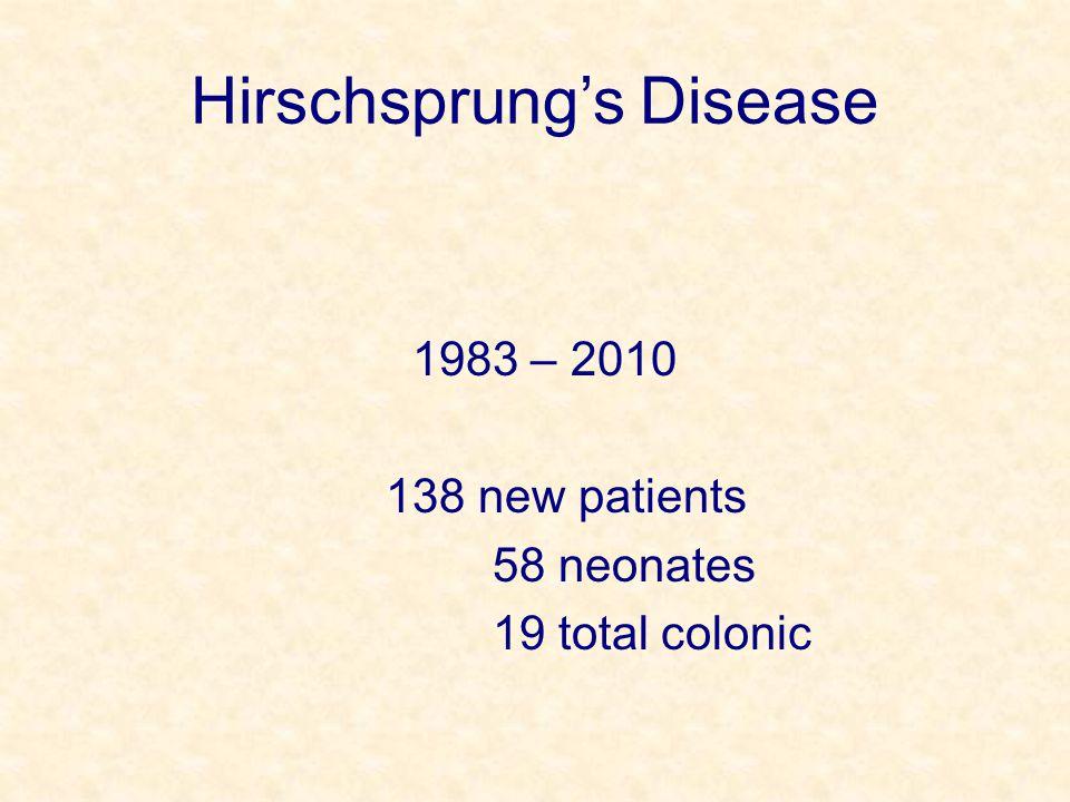 Hirschsprung's Disease 1983 – 2010 138 new patients 58 neonates 19 total colonic