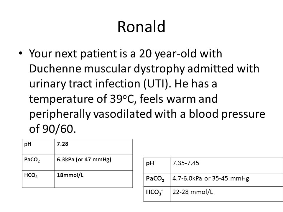 Ronald Your next patient is a 20 year-old with Duchenne muscular dystrophy admitted with urinary tract infection (UTI).