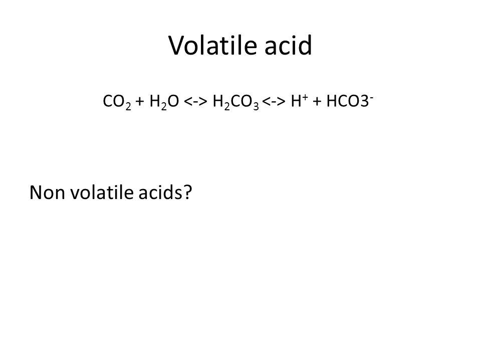 Volatile acid Non volatile acids CO 2 + H 2 O H 2 CO 3 H + + HCO3 -