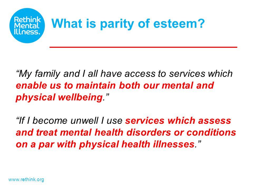 What is parity of esteem.