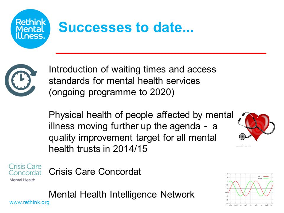 Successes to date... www.rethink.org Introduction of waiting times and access standards for mental health services (ongoing programme to 2020) Physica