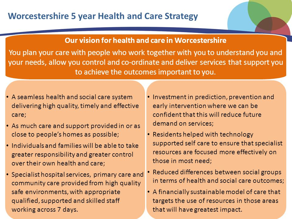 Our vision for health and care in Worcestershire You plan your care with people who work together with you to understand you and your needs, allow you control and co-ordinate and deliver services that support you to achieve the outcomes important to you.