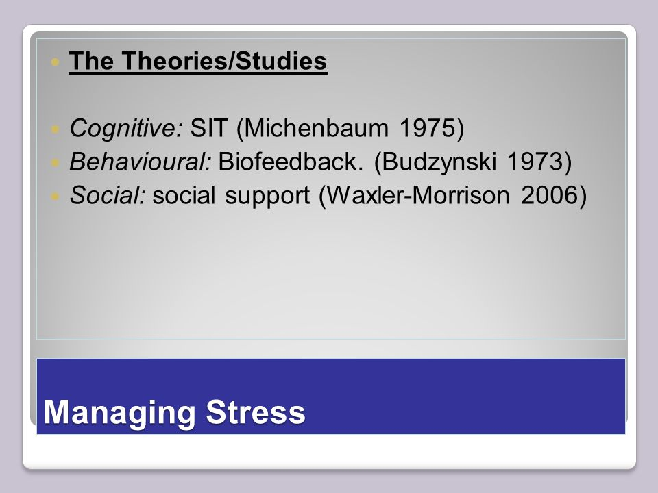 Managing Stress The Theories/Studies Cognitive: SIT (Michenbaum 1975) Behavioural: Biofeedback.