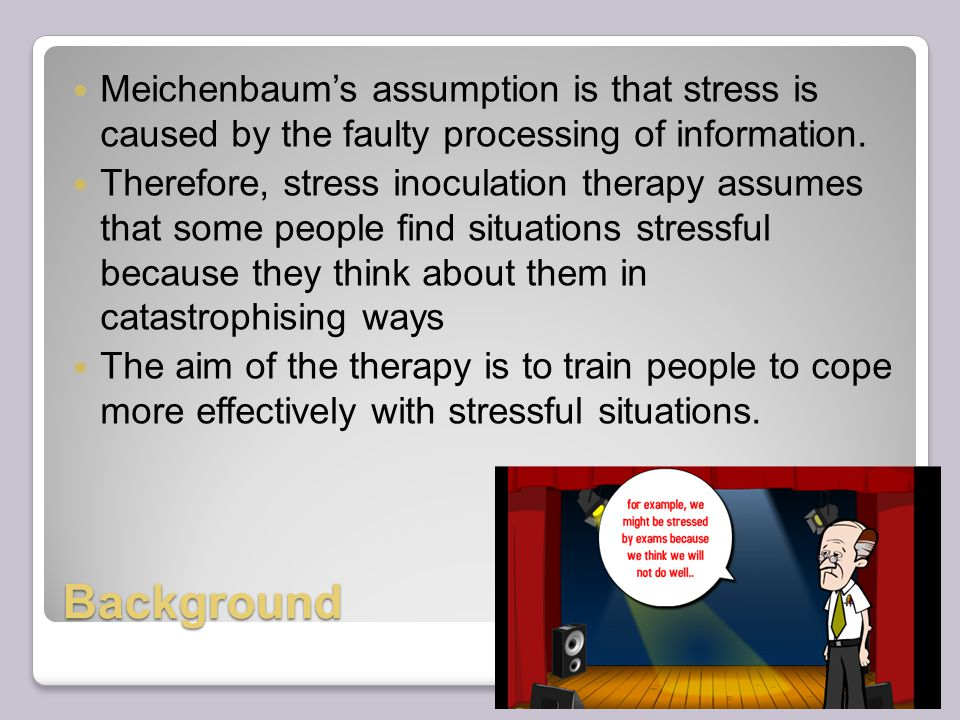 Background Meichenbaum's assumption is that stress is caused by the faulty processing of information.