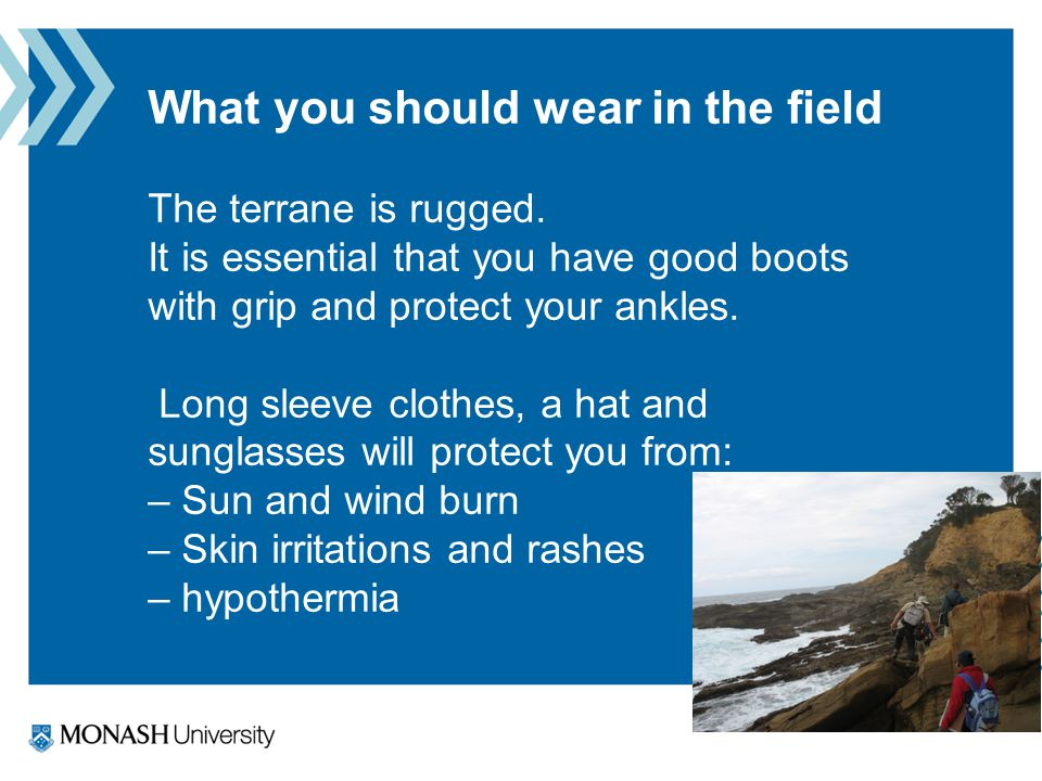 What you should wear in the field The terrane is rugged.