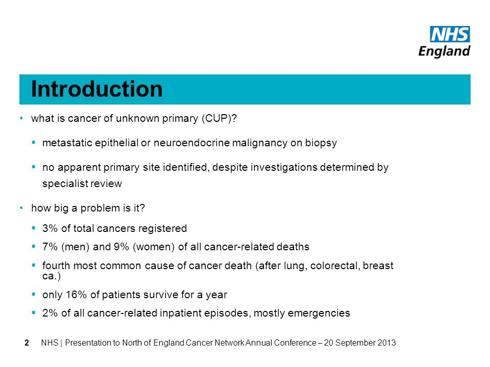 Introduction what is cancer of unknown primary (CUP).