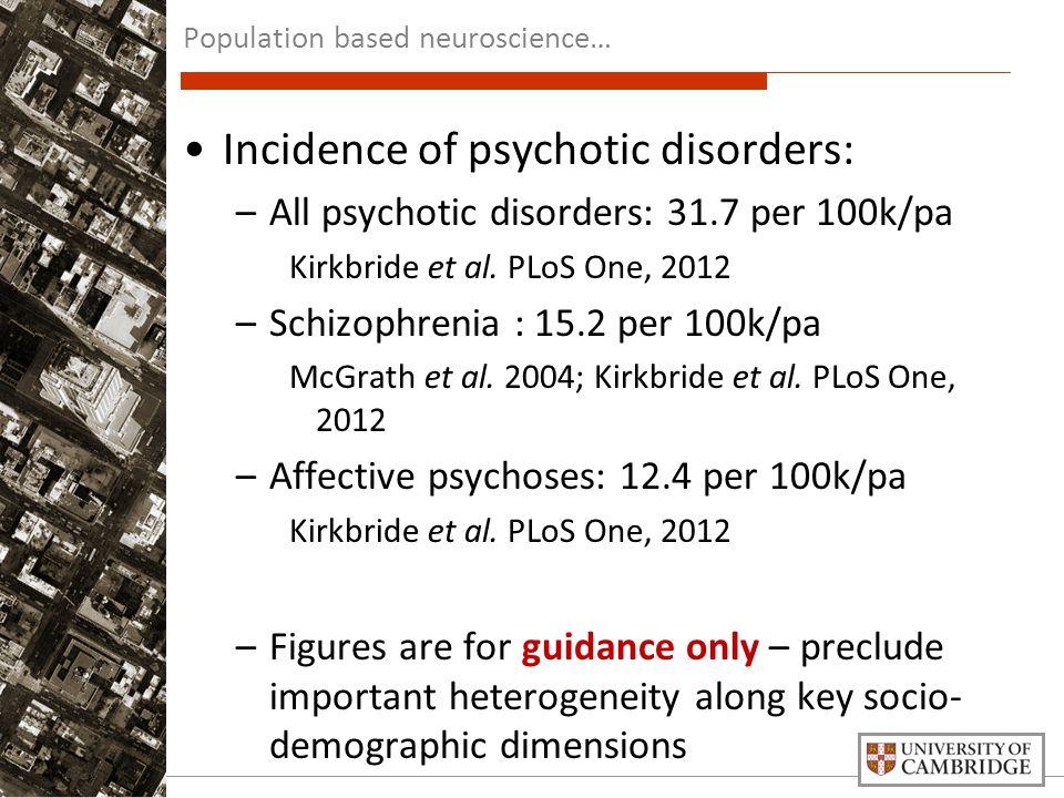 Incidence of psychotic disorders: –All psychotic disorders: 31.7 per 100k/pa Kirkbride et al. PLoS One, 2012 –Schizophrenia : 15.2 per 100k/pa McGrath