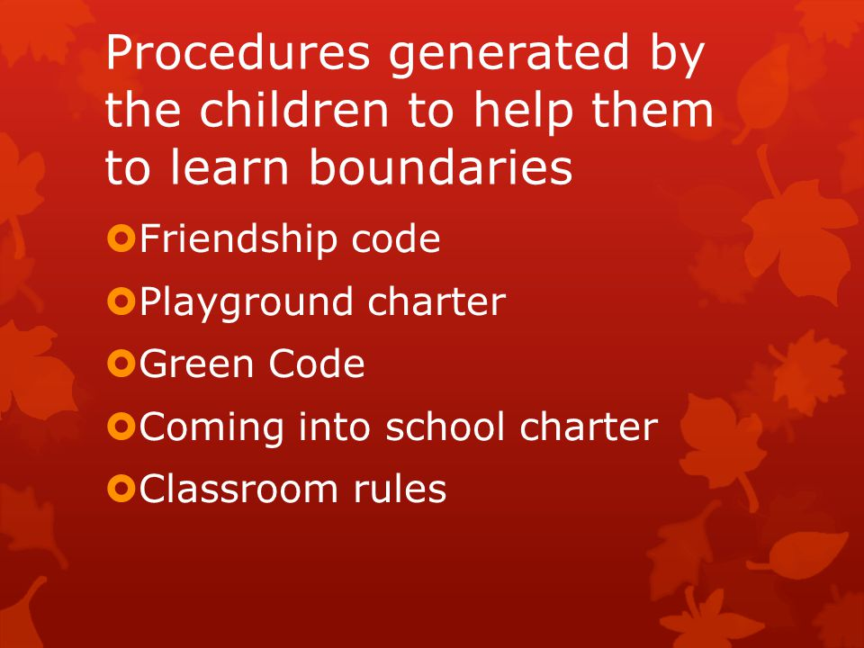 Procedures generated by the children to help them to learn boundaries  Friendship code  Playground charter  Green Code  Coming into school charter  Classroom rules