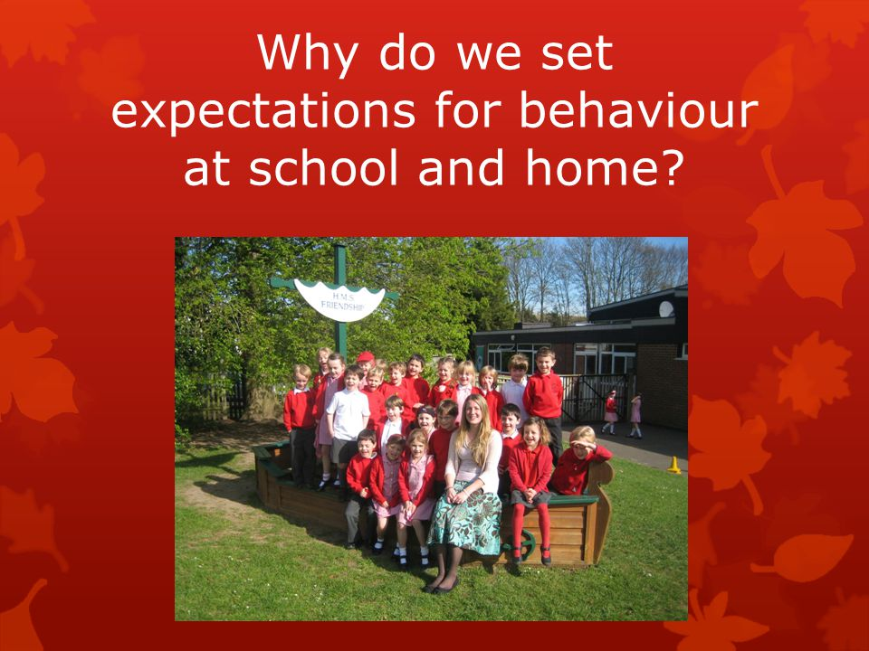 Why do we set expectations for behaviour at school and home?