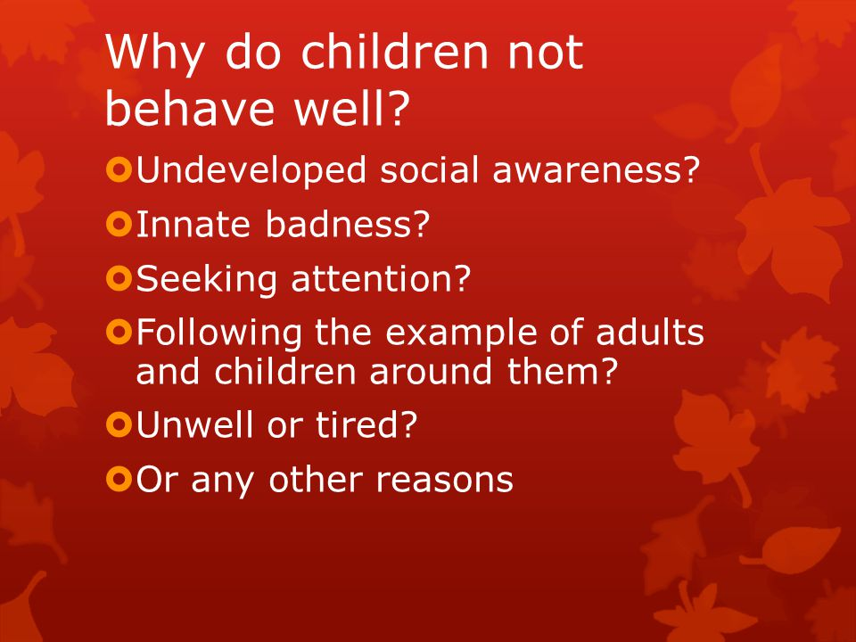 Why do children not behave well.  Undeveloped social awareness.