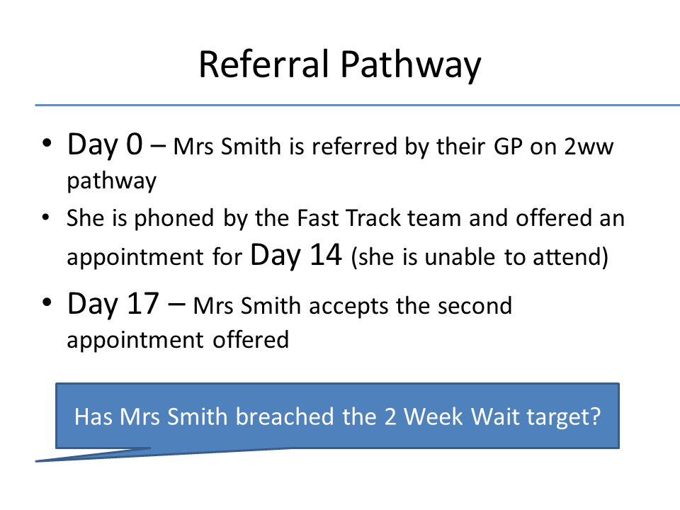 Referral Pathway Day 0 – Mrs Smith is referred by their GP on 2ww pathway She is phoned by the Fast Track team and offered an appointment for Day 14 (she is unable to attend) Day 17 – Mrs Smith accepts the second appointment offered Has Mrs Smith breached the 2 Week Wait target?