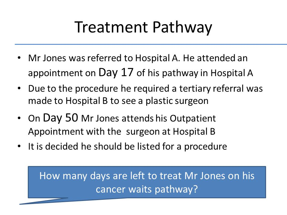 Treatment Pathway Mr Jones was referred to Hospital A.