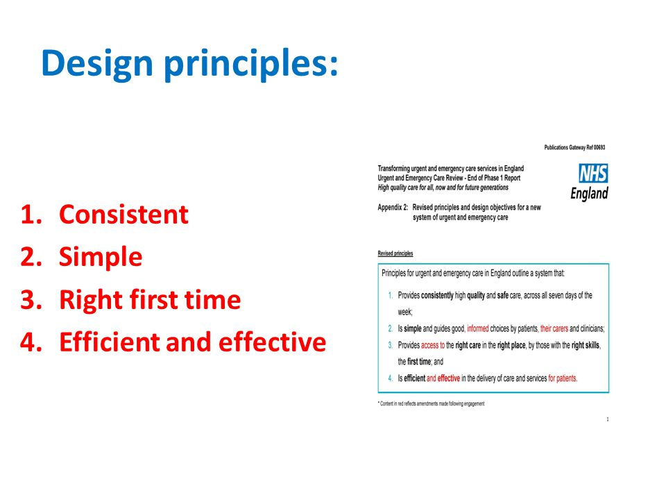 Design principles: 1.Consistent 2.Simple 3.Right first time 4.Efficient and effective
