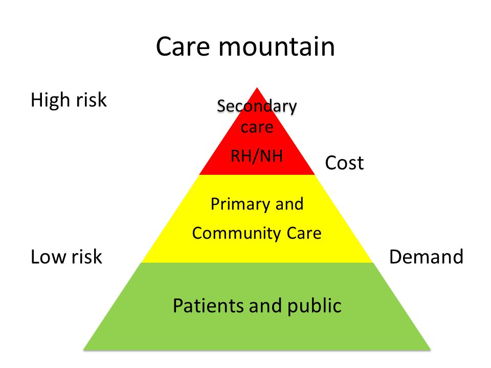 Care mountain High risk Cost Low risk Demand Secondary care RH/NH Primary and Community Care Patients and public