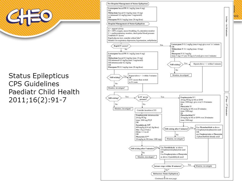 Status Epilepticus CPS Guidelines Paediatr Child Health 2011;16(2):91-7