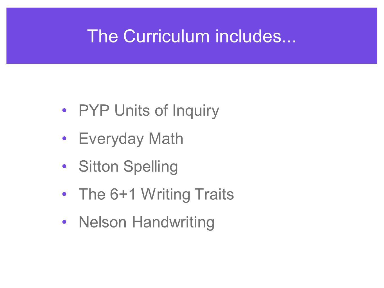The Curriculum includes...