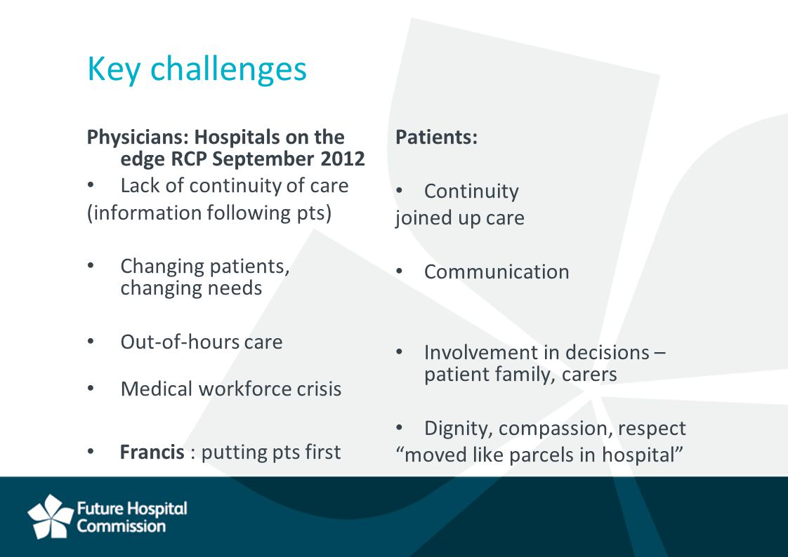 Key challenges Physicians: Hospitals on the edge RCP September 2012 Lack of continuity of care (information following pts) Changing patients, changing needs Out-of-hours care Medical workforce crisis Francis : putting pts first Patients: Continuity joined up care Communication Involvement in decisions – patient family, carers Dignity, compassion, respect moved like parcels in hospital