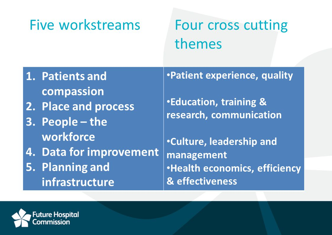 Five workstreamsFour cross cutting themes 1.Patients and compassion 2.Place and process 3.People – the workforce 4.Data for improvement 5.Planning and infrastructure Patient experience, quality Education, training & research, communication Culture, leadership and management Health economics, efficiency & effectiveness