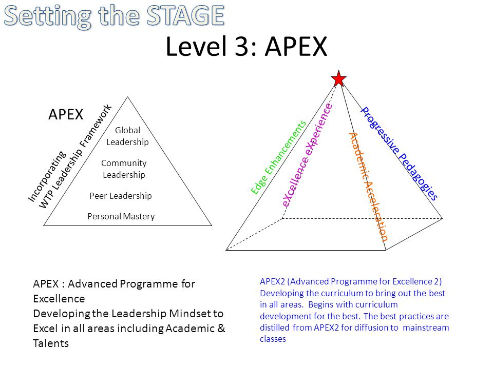Level 3: APEX APEX Personal Mastery Peer Leadership Community Leadership Global Leadership Incorporating WTP Leadership Framework APEX : Advanced Programme for Excellence Developing the Leadership Mindset to Excel in all areas including Academic & Talents APEX2 (Advanced Programme for Excellence 2) Developing the curriculum to bring out the best in all areas.