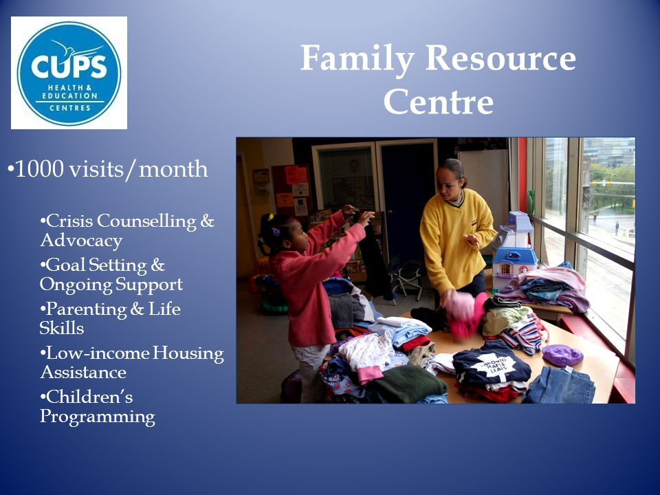 Family Resource Centre 1000 visits/month Crisis Counselling & Advocacy Goal Setting & Ongoing Support Parenting & Life Skills Low-income Housing Assistance Children's Programming