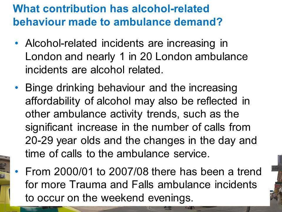 42 What contribution has alcohol-related behaviour made to ambulance demand.