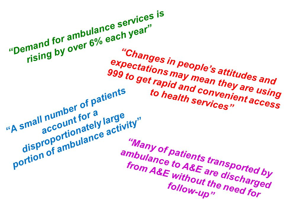 Many of patients transported by ambulance to A&E are discharged from A&E without the need for follow-up A small number of patients account for a disproportionately large portion of ambulance activity Changes in people's attitudes and expectations may mean they are using 999 to get rapid and convenient access to health services Demand for ambulance services is rising by over 6% each year