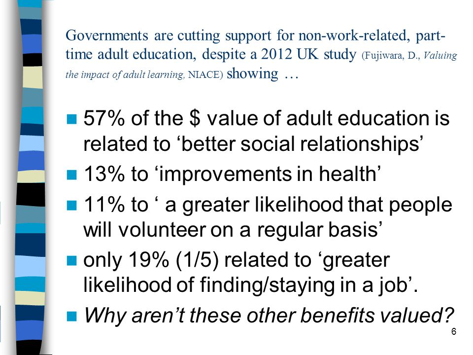 Governments are cutting support for non-work-related, part- time adult education, despite a 2012 UK study (Fujiwara, D., Valuing the impact of adult learning, NIACE) showing … 57% of the $ value of adult education is related to 'better social relationships' 13% to 'improvements in health' 11% to ' a greater likelihood that people will volunteer on a regular basis' only 19% (1/5) related to 'greater likelihood of finding/staying in a job'.