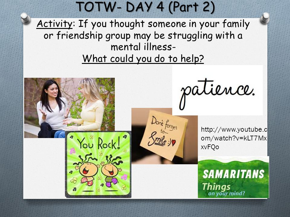 TOTW- DAY 4 (Part 2) Activity: If you thought someone in your family or friendship group may be struggling with a mental illness- What could you do to