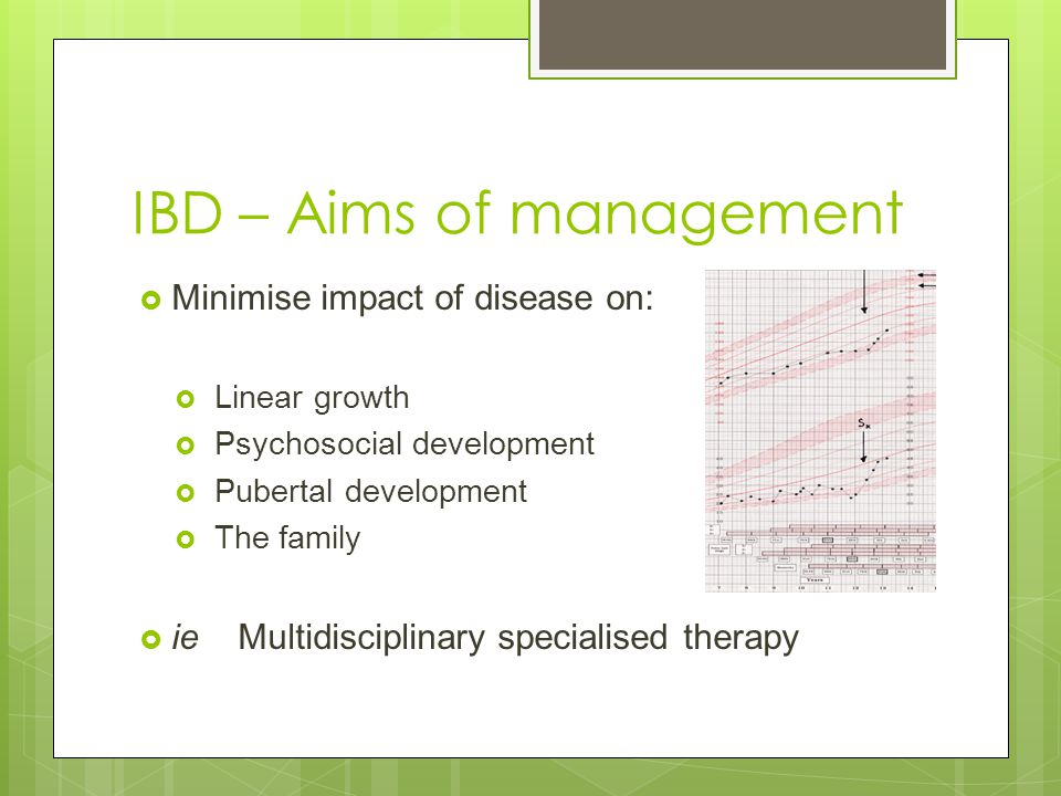 IBD – Aims of management  Minimise impact of disease on:  Linear growth  Psychosocial development  Pubertal development  The family  ie Multidis