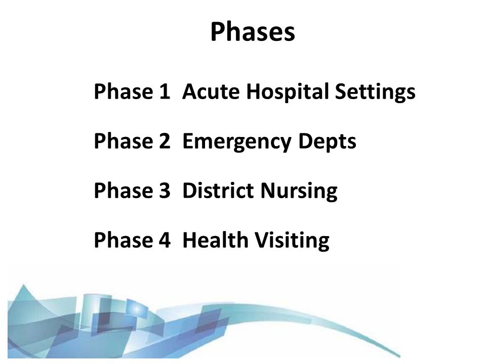 Phase 1 Acute Hospital Settings Phase 2 Emergency Depts Phase 3 District Nursing Phase 4 Health Visiting Phases