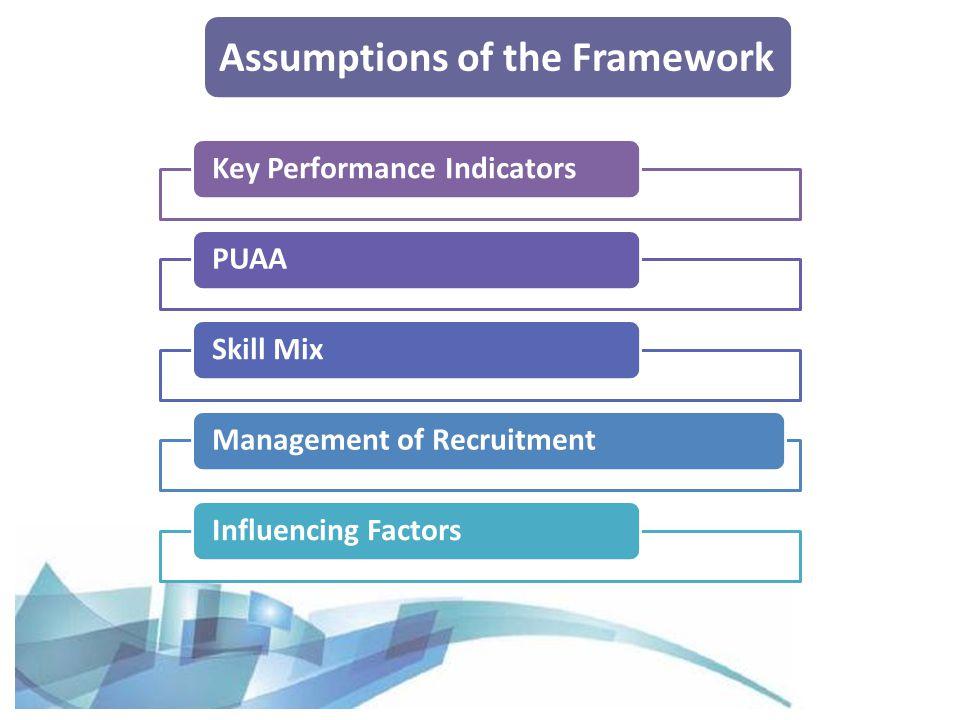 Assumptions of the Framework Key Performance IndicatorsPUAASkill MixManagement of RecruitmentInfluencing Factors