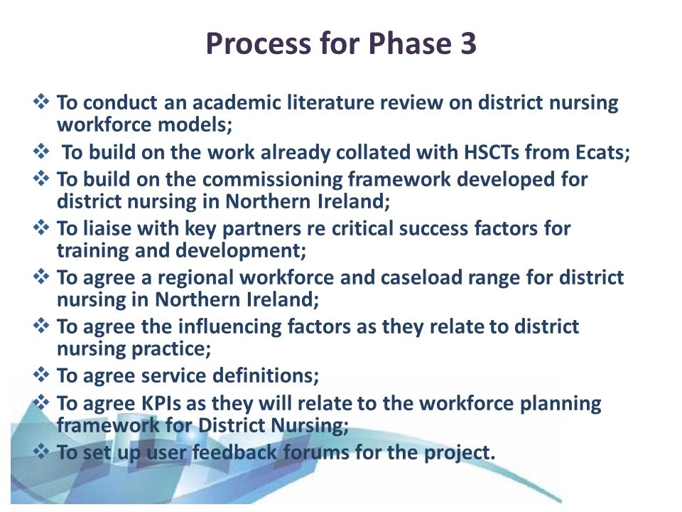 Process for Phase 3  To conduct an academic literature review on district nursing workforce models;  To build on the work already collated with HSCTs from Ecats;  To build on the commissioning framework developed for district nursing in Northern Ireland;  To liaise with key partners re critical success factors for training and development;  To agree a regional workforce and caseload range for district nursing in Northern Ireland;  To agree the influencing factors as they relate to district nursing practice;  To agree service definitions;  To agree KPIs as they will relate to the workforce planning framework for District Nursing;  To set up user feedback forums for the project.