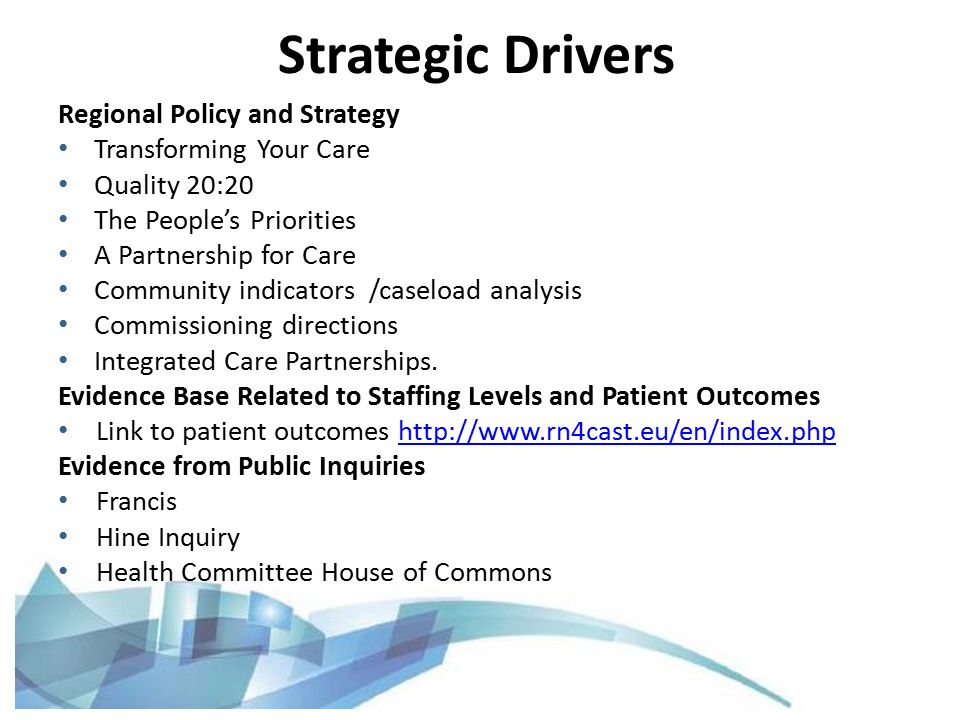 Regional Policy and Strategy Transforming Your Care Quality 20:20 The People's Priorities A Partnership for Care Community indicators /caseload analysis Commissioning directions Integrated Care Partnerships.