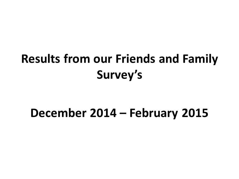 Results from our Friends and Family Survey's December 2014 – February 2015