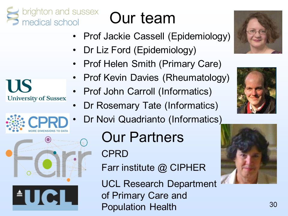 30 Our team Prof Jackie Cassell (Epidemiology) Dr Liz Ford (Epidemiology) Prof Helen Smith (Primary Care) Prof Kevin Davies (Rheumatology) Prof John Carroll (Informatics) Dr Rosemary Tate (Informatics) Dr Novi Quadrianto (Informatics) Our Partners CPRD Farr institute @ CIPHER UCL Research Department of Primary Care and Population Health