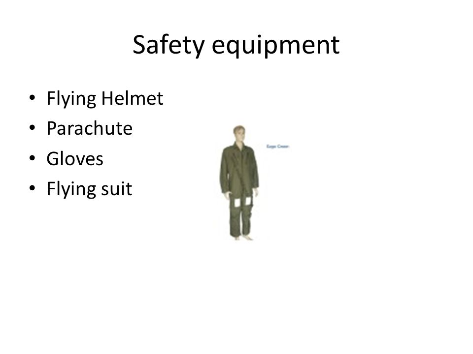 Safety equipment Flying Helmet Parachute Gloves Flying suit